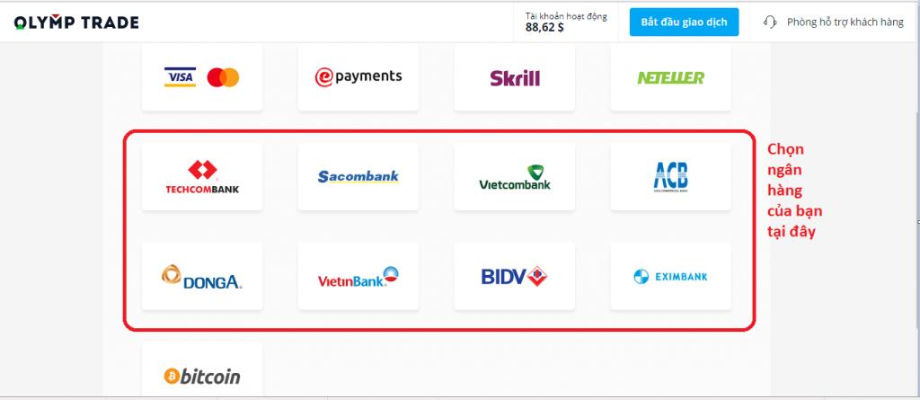 Nạp tiền vào tài khoản Olymp Trade sử dụng dịch vụ ngân hàng trực tuyến (i-banking)
